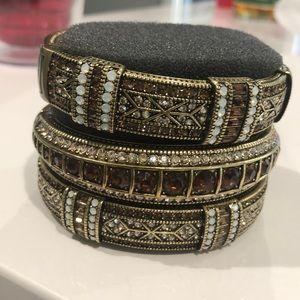 Heidi Daus new bracelet. Set of three amber/opal